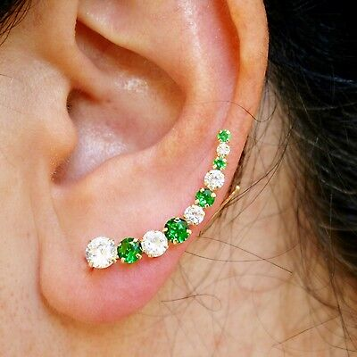 14k Solid Yellow Gold Natural Green, White Quartz Dazzling Climber Stud Earrings