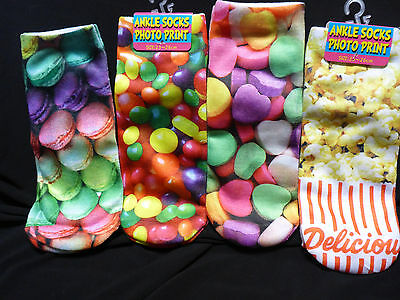 Girls Boys Ankle Sports Socks 3D Printed Party Heart Candy Jelly Beans Pop Corn