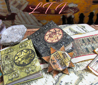 BOOK OF THE DEAD Illustrated Miniature Book Dollhouse 1:12 Scale Black Egyptian