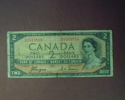 CANADA 1954 TWO DOLLAR BANK NOTE P67a VERY GOOD ~391770-R
