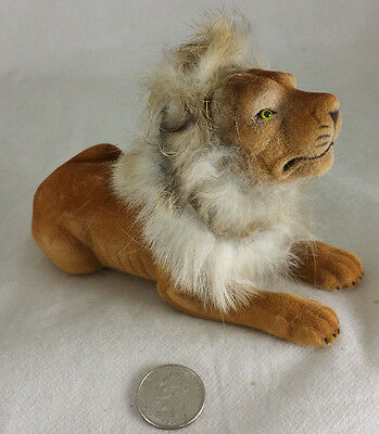 Flocked Resting Lion Bobble Head Doll with fur predator NEW! FREE SHIPPING!