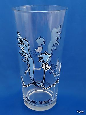 Warner Bros Looney Tunes Road Runner Pepsi Glass 1973 Tumbler Black