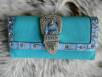 SALE Ladies Wallet TURQUOISE Sparkling Bling Buckle Closure Bling Western Style