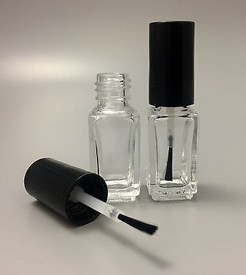 5ml empty clear glass nail varnish polish bottle with black lid