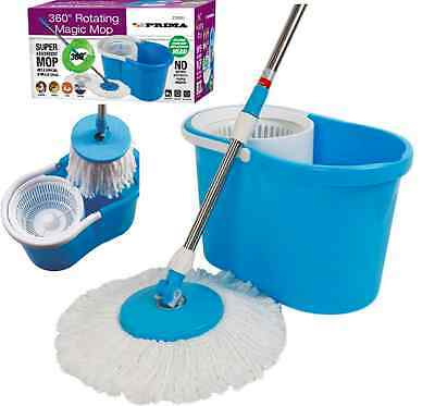 360° Spinning Rotating 2 Microfibre Cleaning Heads Spin Mop Floor Bucket Kitchen