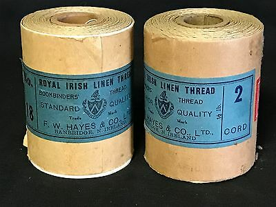 2 Antique Royal Irish Linen F.W. Hayes Bookbinders' Thread No.18 2 cord 8 ounces