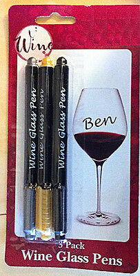 Wine Glass Writer Pens Erasable Markers Black Gold Silver Metallic
