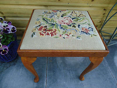 Vintage Golden Oak Stool with Tapestry Seat VGC