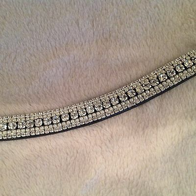 Bling Diamante Dressage Show Browband U shaped Clear Crystal/Pearl 5rows - BLACK