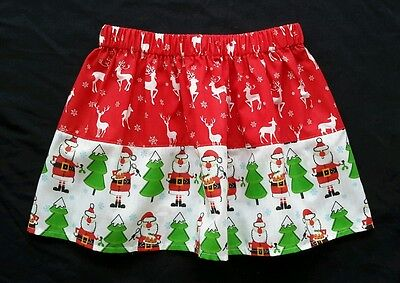 New girls Festive Reindeer & Santa Christmas skirt. Age 4-7. Xmas jumper.