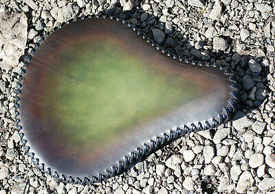 Leather solo seat-   Black/green.   Harley,chop ,bobber Custom