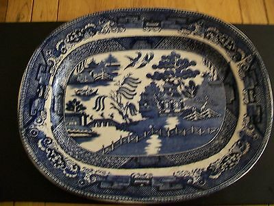 Antique Blue And White Platter - Willow Pattern