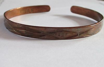 CHILE signed COPPER cuff patterned bangle bracelet VINTAGE pretty