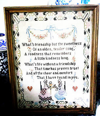 """Antique Sampler framed & behind glass  """"Friendship""""  10.5 x 13 in, great cond."""
