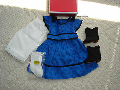 American Girl Beforever ADDY MEET OUTFIT BLUE DRESS Boots Socks  NEW