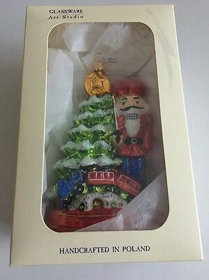 New Handcrafted Poland Art Glassware Christmas Ornament Nutcracker Holiday Gift