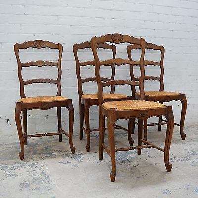 4 x French Louis style decorative oak rush seated high back dining chairs