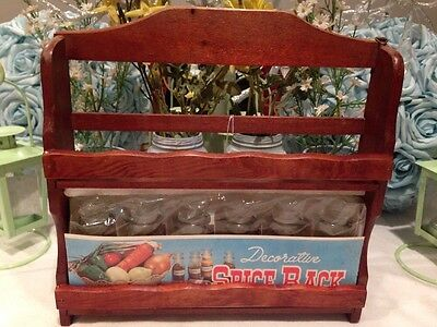 Wood Spice Rack with 6 Glass Spice Jars Unopened