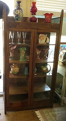 Two Door Mission Oak Curio / Bookcase - Price Reduced to $807.50