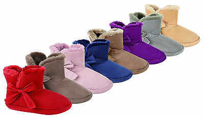 New Ladies Faux Suede Soft Fleece Lined Warm Slipper Boots Booties Sizes 3-8