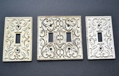 3 Vintage Ornate M.C.Co. Scroll Switch Plate Single Double 1966 Metal 3906 3907