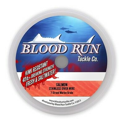 2Pk Blood Run Tackle 7 Strand Stainless Trolling Wire 30# 1000' Spools