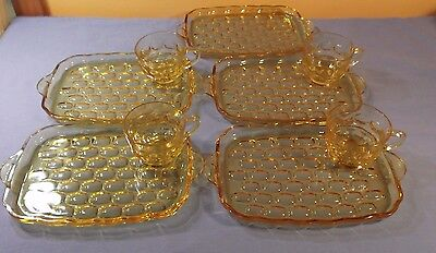 Vtg.9 pc.Federal GlassYorktown Colonial Yellow Glass 5)Luncheon Plates&4)Cups