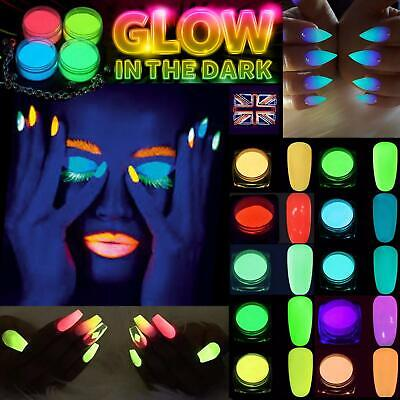 Glow In The Dark Powder Luminescent Acrylic Nail Painting Neon Fluorescent Uk