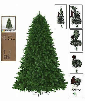 Green Artificial Christmas Tree Pine Metal Stand Tips Spruce XMAS 6ft Premium