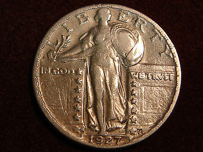 1927-S Standing Liberty Quarter VF details - cleaned