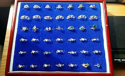 Huge lot of brand new 42 sterling silver rings