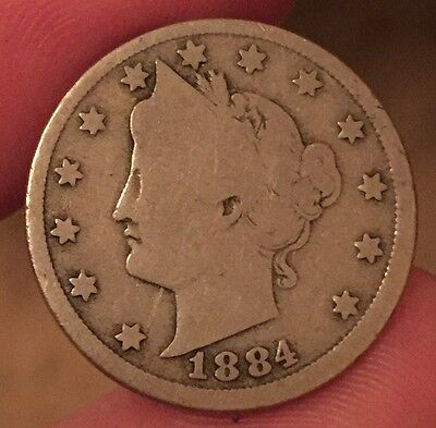 United States 1884 Five Cents. Key Date American Nickel Coin.