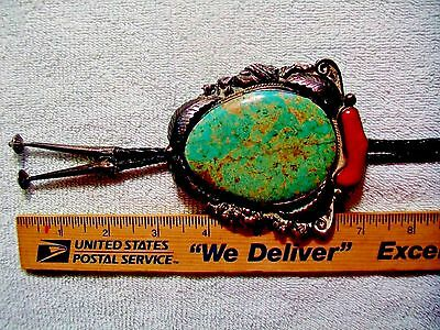 Navajo Antique Huge Signd S/P Sterling Coral High Grade looks 8 mine Turquoise