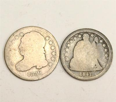 1836 Capped Bust & 1841 Seated Liberty US Dimes both AG/G