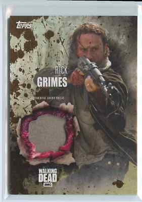 2016 Topps Walking Dead Season 5 Rick Grimes Authentic Shirt Relic Mud #ed /50