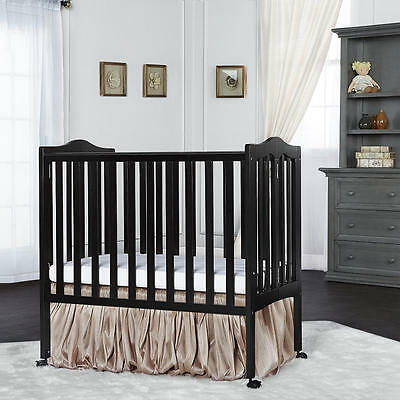 Dream On Me 2-in-1 Lightweight, Portable Folding Convertible Crib - Black
