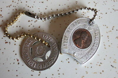 Carlsbad Caverns Vtg 40's Good Luck Penny + Love You Forever Esther Luck Pendant