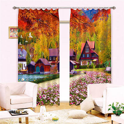 Colorful House Tree 3D Customize Blockout Photo Curtains Print Home Window Decor