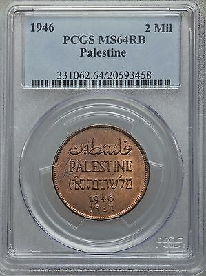 1946 Palestine 2 Mils, NGC MS 64 RB, Mainly Red