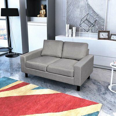 # 2-Seater Modern Fabric Sofa Lounge Suite Furniture Set Couch Pillows Light Gre