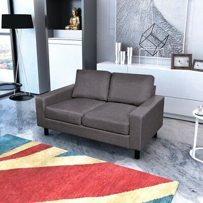# 2-Seater Modern Fabric Sofa Lounge Suite Furniture Set Couch w/ Pillow Dark Gr