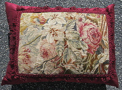 """Pillow made from 18thC French Aubusson Tapestry hand woven wool and silk 24""""x18"""""""