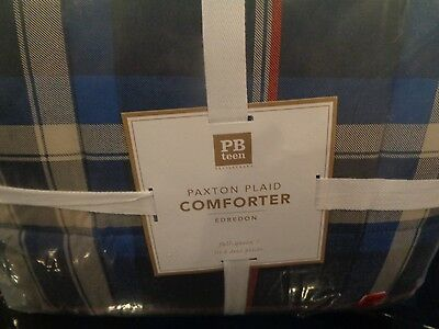 Pottery Barn Teen Paxton Plaid Full Queen  quilt navy orange New