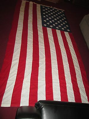 "Vintage 50 Sewn Star US Burial Flag WWII American USA  4'  9"" x 9'  8"""