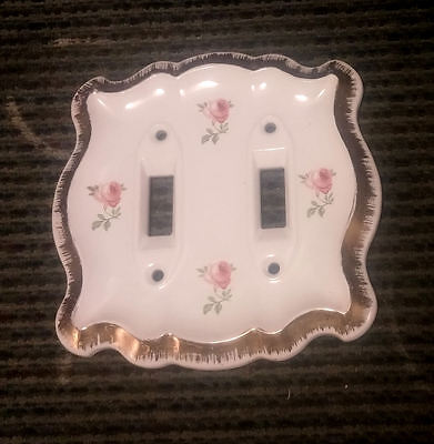 Vintage Ceramic Porcelain Double Light Switch Cover Plate ~ Rose, Gold, Floral