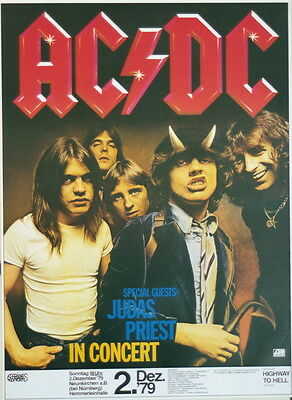 Ac/dc Judas Priest Concert Tour Poster 1979 Highway To Hell