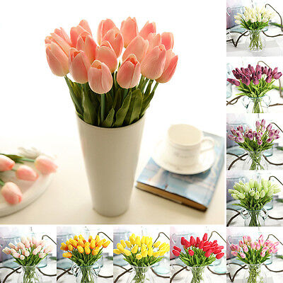 10-Pcs Artifical Real Touch PU Tulips Flower Single Stem Bouquet Room Home Decor