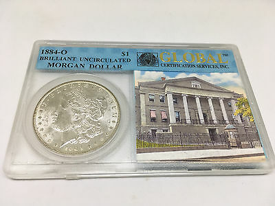 1884 O $1 Morgan Silver Dollar In Global Certification Services Holder