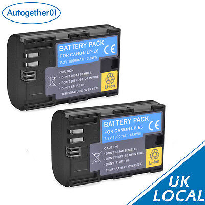 2X Fully decoded Battery for Canon LP-E6 LP-E6N EOS 7D 60D 5D Mark II III UK
