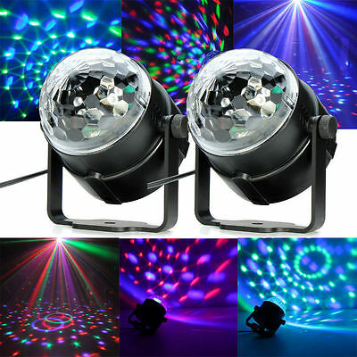 2 X Music Active RGB Crystal Ball Rotating LED Stage Light Disco Party Bulb Lamp